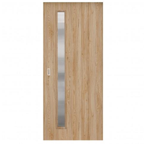 Usa de interior culisanta Maria Eco Euro Doors, cu geam, stejar fibra, 85 x 206 cm + maner ingropat