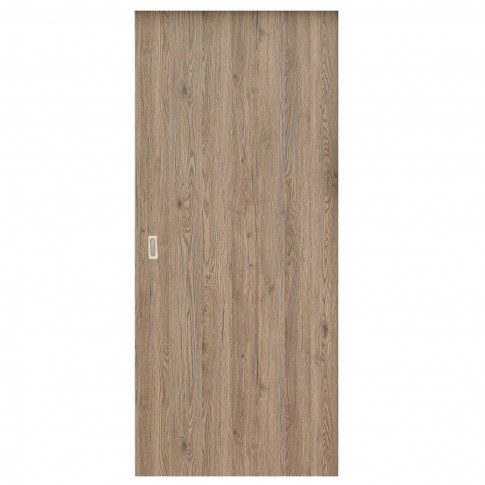 Usa culisanta Eco Euro Doors Elena, plina, gri cu fibra, 85 x 206 cm + maner ingropat