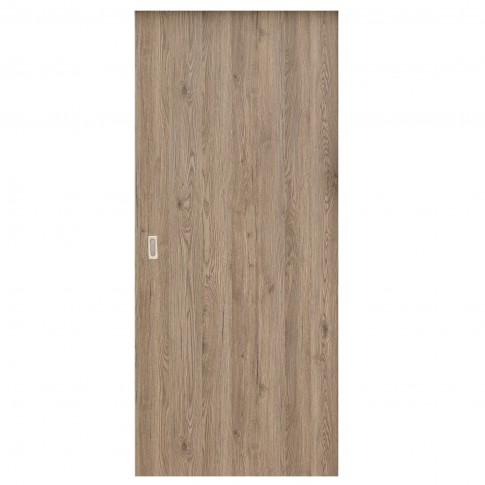 Usa de interior culisanta Eco Euro Doors Elena, plina, gri cu fibra, 85 x 206 cm + maner ingropat