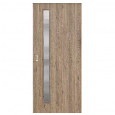 Usa de interior culisanta Elena Eco Euro Doors, cu geam, gri fibra, 95 x 206 cm + maner ingropat