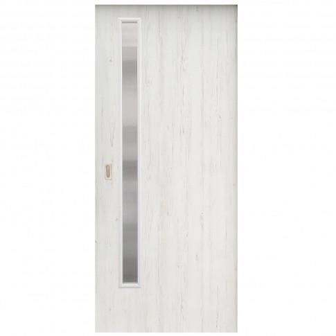Usa de interior culisanta Eco Euro Doors Doina, cu geam, alb cu fibra, 95 x 206 cm + maner ingropat