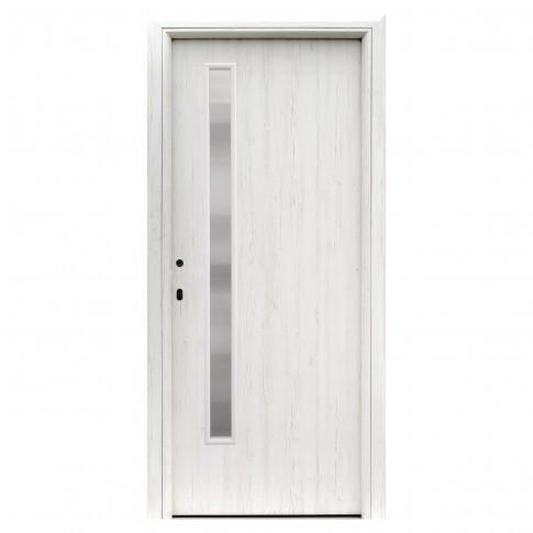 Usa interior celulara cu geam, Eco Euro Doors R80 Doina, dreapta, Gol II, alb 202 x 66 x 4 cm cu toc rotunjit