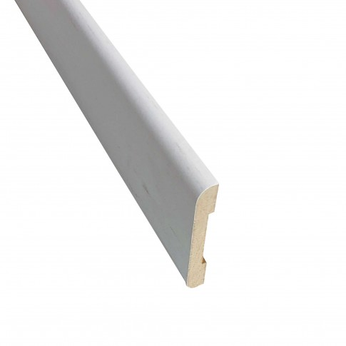 Pervaz pentru usa interior Doina, alb cu fibra texturata, 8 x 60 mm, set 3 bucati
