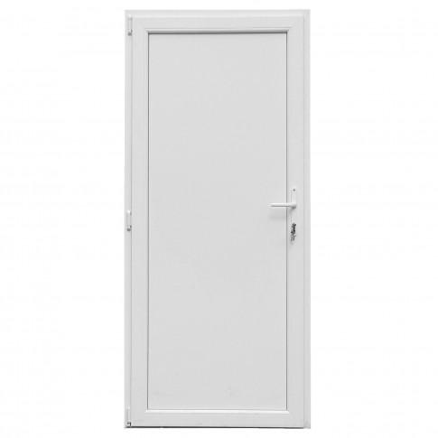 Usa exterior din PVC cu panel, Far Est, 3 camere, prag aluminiu, stanga, alb, 88 x 198 cm