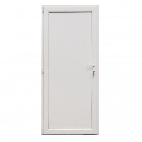 Usa exterior din PVC cu panel, Far Est, 3 camere, prag aluminiu, stanga, alb, 98 x 198 cm