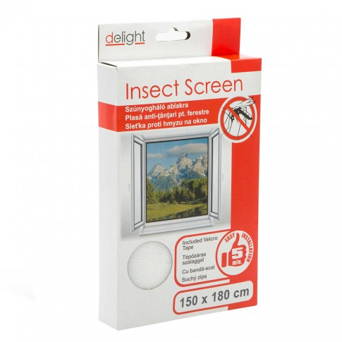 Plasa protectie insecte / tantari, Delight, pentru ferestre, poliester, alb, 150 x 180 cm