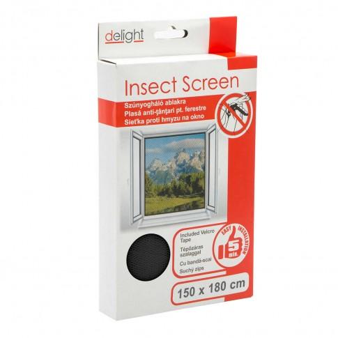 Plasa protectie insecte / tantari, Delight, pentru ferestre, poliester, negru, 150 x 180 cm