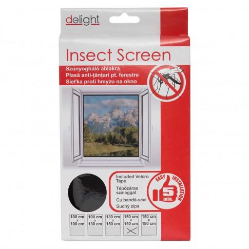 Plasa protectie insecte / tantari, Delight, pentru ferestre, poliester, negru, 150 x 150 cm