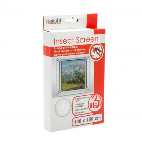 Plasa protectie insecte / tantari, Delight, pentru ferestre, poliester, alb, 130 x 150 cm