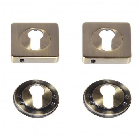 Rozata patrata pentru usa lemn ESC08, PZ(Y) RS55 AB, antic bronz, 55 mm, 2 buc / set