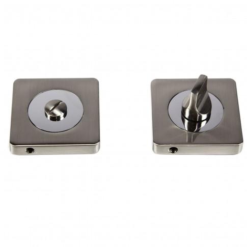 Rozata patrata pentru usa lemn ESC08, WC RS55 SN / CP, satin nichel + crom, zamac, 55 mm, 2 buc / set