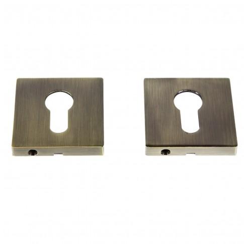 Rozata patrata pentru usa lemn ESC09, PZ(Y) RS55 AB, antic bronz, zamac, 55 mm, 2 buc / set