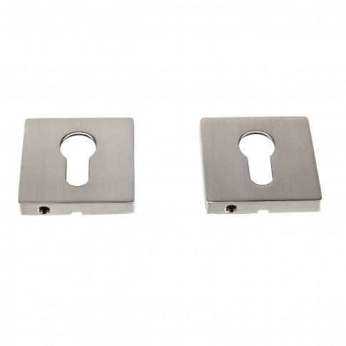 Rozata patrata pentru usa lemn ESC09, PZ(Y) RS55 SN, satin nichel, zamac, 55 mm, 2 buc / set