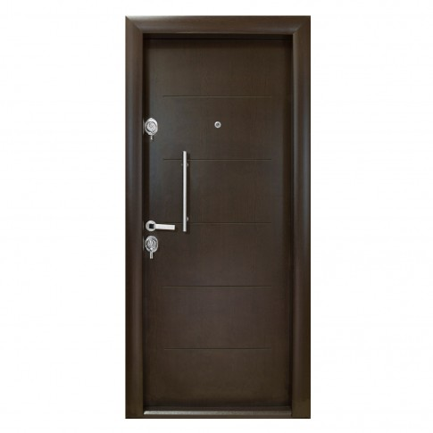 Usa interior metalica Arta Door 302, dreapta, wenge, 201 x 88 cm