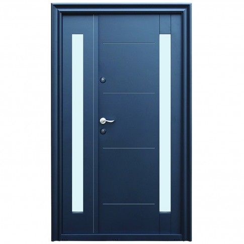 Usa metalica pentru exterior Tracia Pontus dubla, dreapta, gri antracit, 205 x 120 cm + accesorii