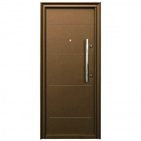 Usa metalica pentru exterior Tracia Traiana, stanga, maro, 205 x 88 cm + accesorii