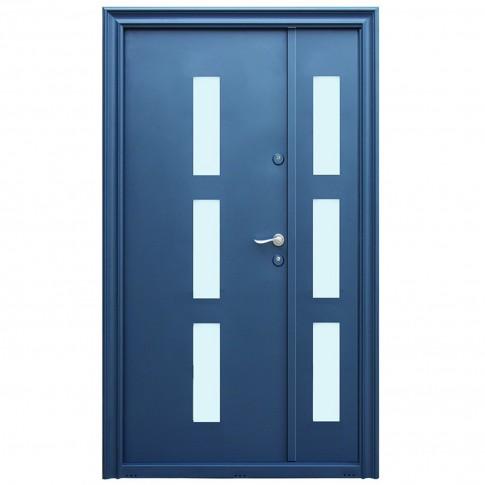 Usa metalica pentru exterior Tracia Danubius Tripan, dubla, stanga, gri antracit, 205 x 120 cm + accesorii