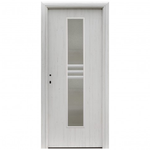 Usa interior celulara cu geam, Eco Euro Doors R80 Doina, dreapta, Gol D2, alb fibra, 202 x 66 x 4 cm cu toc rotunjit