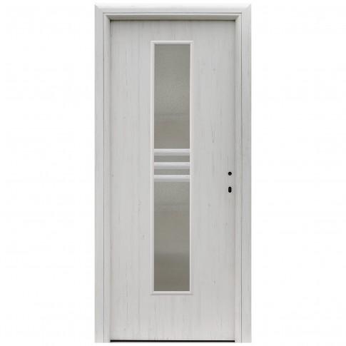 Usa interior celulara cu geam, Eco Euro Doors R80 Doina, stanga, Gol D2, alb fibra, 202 x 66 x 4 cm cu toc rotunjit