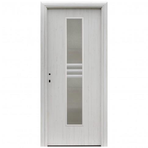 Usa interior celulara cu geam, Eco Euro Doors R80 Doina, dreapta, Gol D2, alb fibra, 202 x 76 x 4 cm cu toc rotunjit