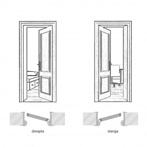 Usa interior celulara cu geam, Eco Euro Doors R80 Doina, stanga, Gol D3, alb fibra, 202 x 76 x 4 cm cu toc rotunjit