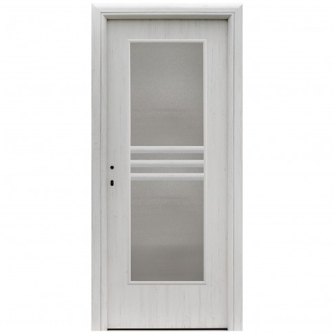 Usa interior celulara cu geam, Eco Euro Doors R80 Doina, dreapta, Gol D3, alb fibra, 202 x 86 x 4 cm cu toc rotunjit