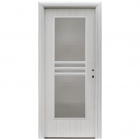 Usa interior celulara cu geam, Eco Euro Doors R80 Doina, stanga, Gol D3, alb fibra, 202 x 86 x 4 cm cu toc rotunjit