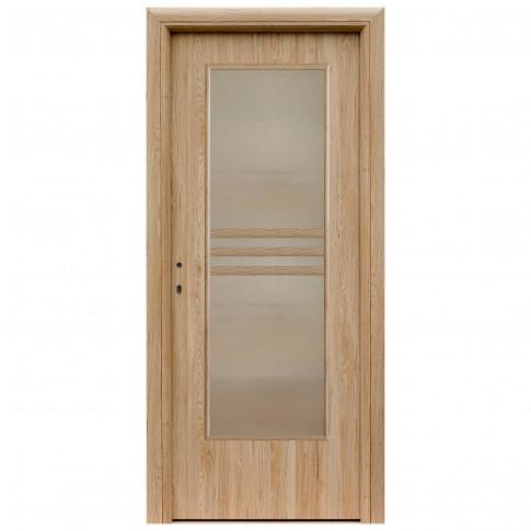 Usa interior celulara cu geam, Eco Euro Doors R80 Maria, dreapta, Gol D3, stejar, 202 x 76 x 4 cm cu toc rotunjit