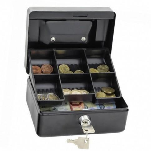 Caseta pentru bani Rottner Homestarcash 1, pe negru, otel, 8.5 x 15.5 x 13 cm