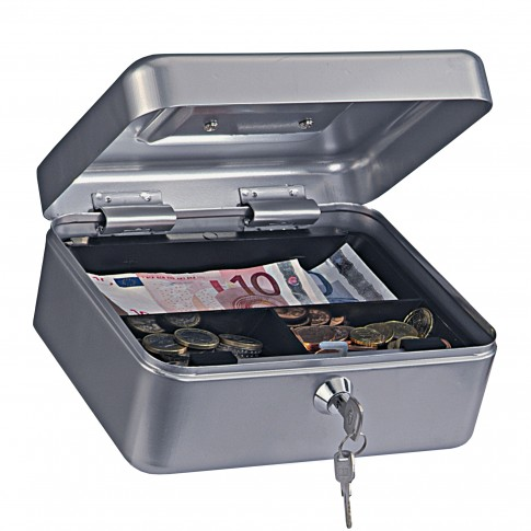 Caseta pentru bani Rottner Homestarcash 2, otel, argintie, 9 x 20 x 16.5 cm