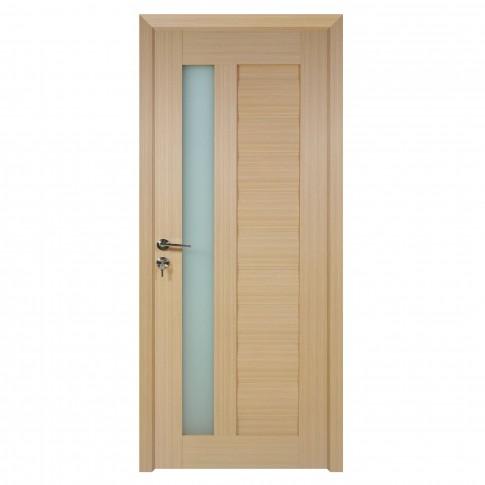 Usa de interior din lemn cu geam BestImp G4-68 D, stanga / dreapta, stejar alb, 203 x 68 cm