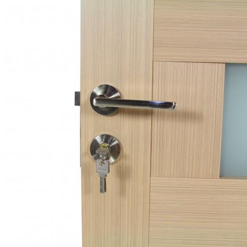 Usa de interior din lemn cu geam BestImp G5-68 D, stanga / dreapta, stejar alb, 203 x 68 cm