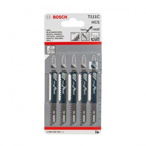 Panza fierastrau vertical, pentru lemn, Bosch Basic for Wood, T 111 C,  2608630033, set 5 bucati