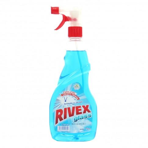 Solutie geamuri Rivex Clear, fresh, uscare rapida, cu pulverizator, 750 ml