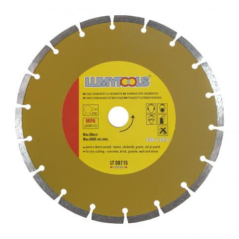 Disc diamantat, cu segmente, pentru debitare materiale de constructii, Lumytools LT08715, 230 x 22.2 x 2.5 mm