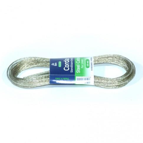 Sarma pentru suport rufe, silver, din fir metalic + polietilena, 10 m