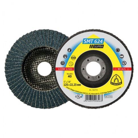 Disc lamelar frontal, pentru metal, Klingspor SMT 624, 125 x 22.23 mm, granulatie 120