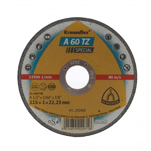 Disc debitare inox si otel, Klingspor A 60 TZ Special, 115 x 22.23 x 1 mm