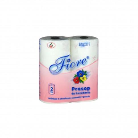 Prosoape hartie Fiore, 2 straturi, L 10.2 m, celuloza, albe, 2 bucati / set