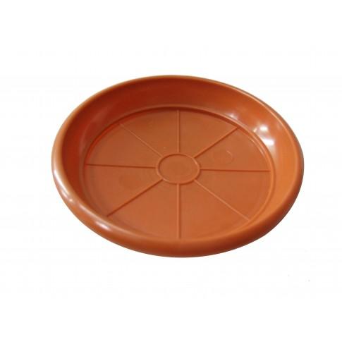 Farfurie ghiveci 2023, plastic, rotund, maro, D 11 cm
