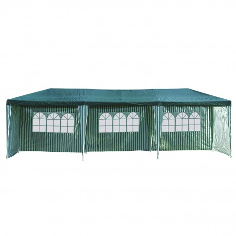 Pavilion gradina 3902-S dreptunghiular cadru metalic + polietilena alb-verde 3 x 9 m