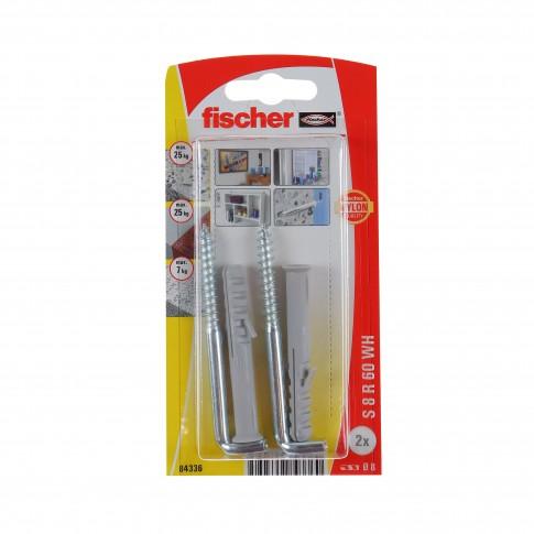 Diblu universal din nylon, cu carlig in vinclu, Fischer SR, 8 x 60 mm, set 2 bucati