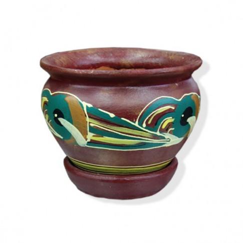 Ghiveci ceramic, diverse culori, rotund, D 12 cm