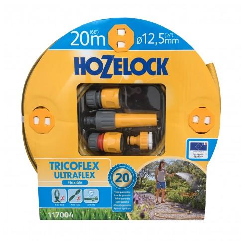 Furtun de gradina, pentru apa, Hozelock Ultraflex, 12.5 mm,  rola 20 m + conectori + duza de stropit