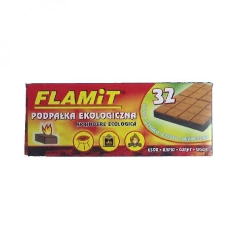 Pastile pentru aprins focul Flamit, fibre lemnoase si ceara, 32 buc