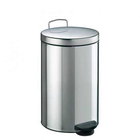 Cos gunoi Meliconi din inox, forma cilindrica, cromat, cu pedala si capac batan, 20L