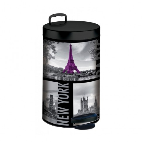 Cos gunoi Meliconi City Metropolis din metal, forma cilindrica, cromat, cu pedala si capac batan, 14L