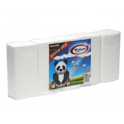 Prosop hartie pliat V Misavan, alb, 2 straturi, 150 buc / set, 5 seturi / tipla