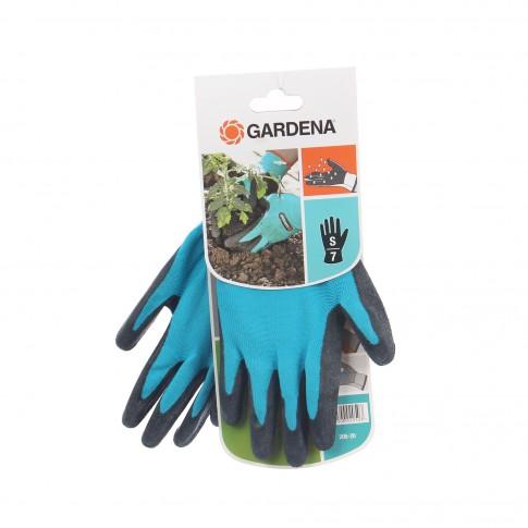 Manusi pentru gradina Gardena 205-20, tesatura elastica, albastru + negru, marimea 7 / S