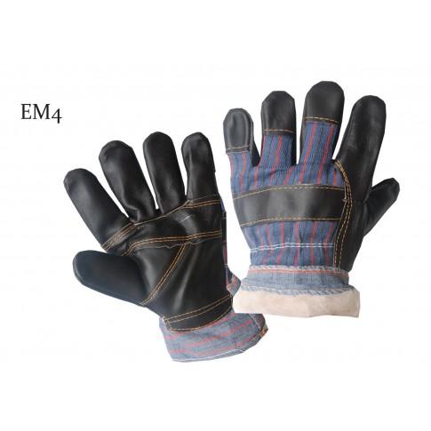 Manusi pentru protectie Gantex EM4, piele de bovina, marme universala, albastru + galben + rosu